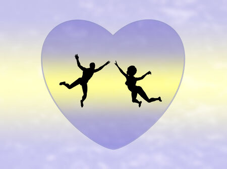 on cloud nine: Couple in Love  Twosome on cloud nine, symbol for a romantic love affair