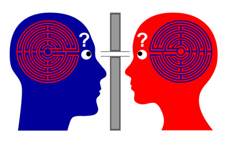self awareness: Knowing each other  How to communicate successfully with one another since we do not know much about our own brain labyrinth  Stock Photo