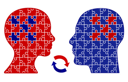 Exchange of Thoughts  Concept of empathetic communication and rapport between two people, man and woman