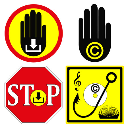 stop piracy: Stop Copyright Infringement  Set of warning Signs to stop illegal downloads from the internet