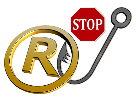 swindle: Stop Trademark Infringement  Concept sign and symbol against trademark violations and fraud