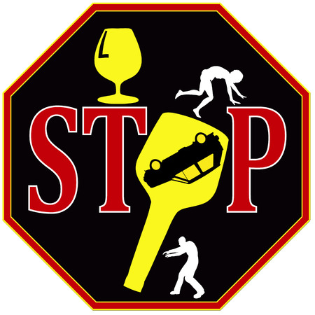 drinking driving:  Symbol for road safety education to keep away from alcohol when driving