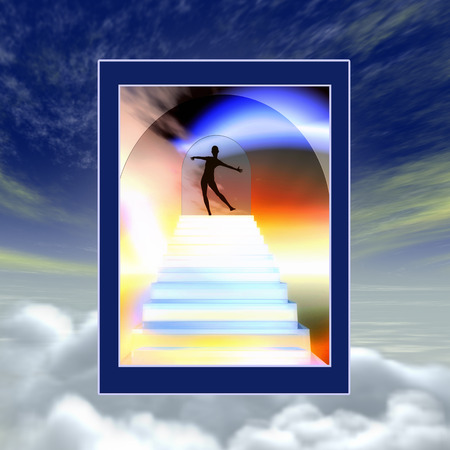 eternal life: Heavens Gate   Modern vision of entering paradise or near death experience Stock Photo