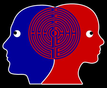 Rapport Twee mensen die in sync of op dezelfde golflengte die gemeenschappelijk beoefend in psychotherapie Stockfoto