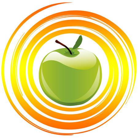 alimentacion balanceada: Concepto Vitaminas Apple como s�mbolo y signo de comida saludable y una dieta equilibrada