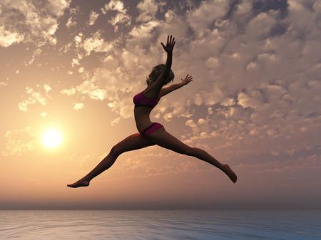 U kunt Jonge sexy vrouw vliegen als symbool voor eigenwaarde en conficence Stockfoto
