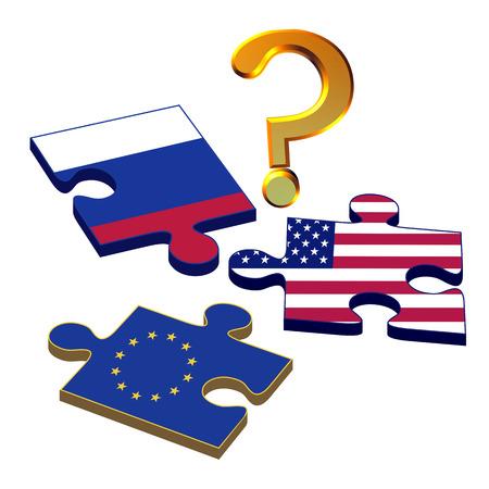 political system: Eu Rusia EE.UU. Concepto, que los intereses pol�ticos norteamericanos, europeos y rusos no puede encajar Foto de archivo