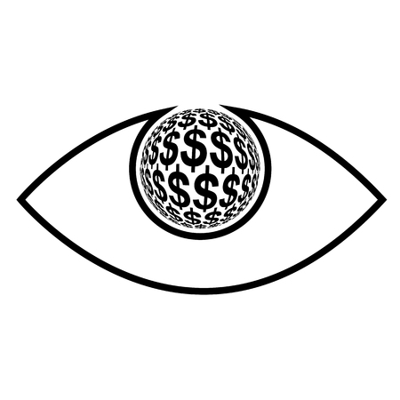 greed: Money Eye  Concept sign for profit seeking, money mad and greed Illustration