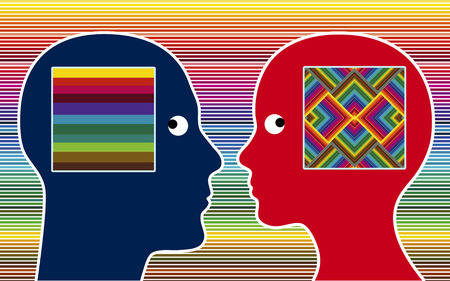 perception: Color Perception  Man and women perceive colors in different intensity Stock Photo