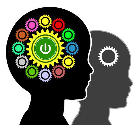 psicologia infantil: Early Education Concept firmar para el programa de desarrollo del niño en las técnicas y el pensamiento lógico Foto de archivo