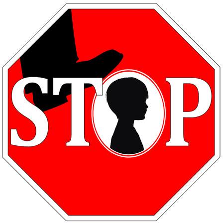 maltrato infantil: Combatir la Violencia contra los Ni�os Concepto signo contra el abuso infantil a trav�s de golpizas, humillaciones y explotaci�n Foto de archivo