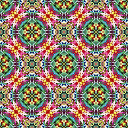 modish: Trendy Native American Pattern  Modern textile derived from ancient tribal motifs in brilliant and vivid colors, seamless