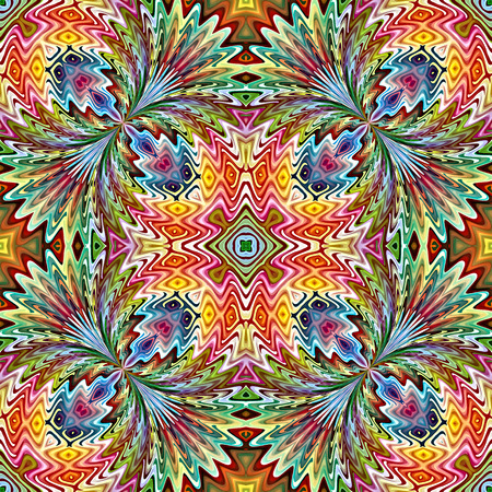 Trendy Native American Pattern  Modern textile derived from ancient tribal motifs in brilliant and vivid colors, seamless Stock Photo - 29293946