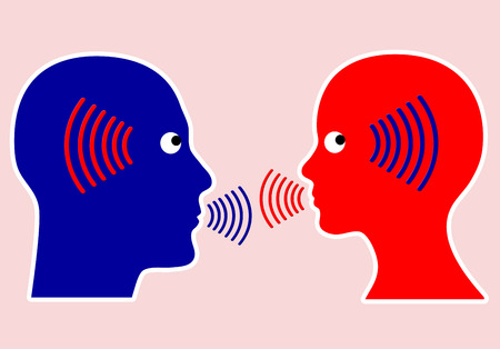 ecoute active: Concept de la communication �coute attentivement et conscient avec empathie est une r�gle importante Banque d'images