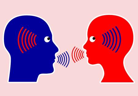 escucha activa: Concepto de comunicaci�n El escuchar atentamente y consciente con la empat�a es una regla importante Foto de archivo