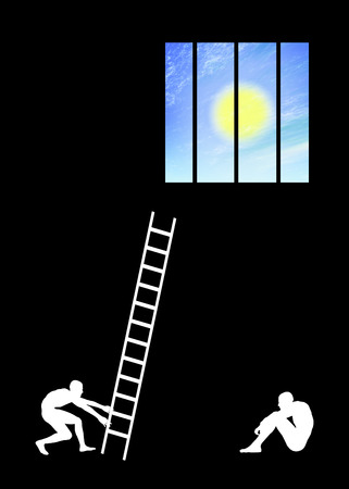 clemency: Hope  Concept sign for a desperate situation being worried about getting rescued Stock Photo