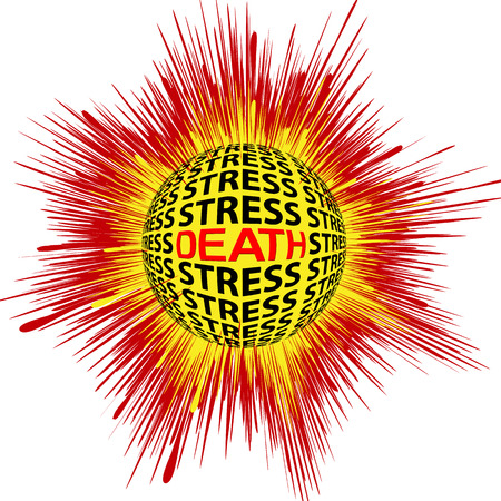 psychic: Cardiac Death trough Stress  Concept sign for health risk trough psychic strain