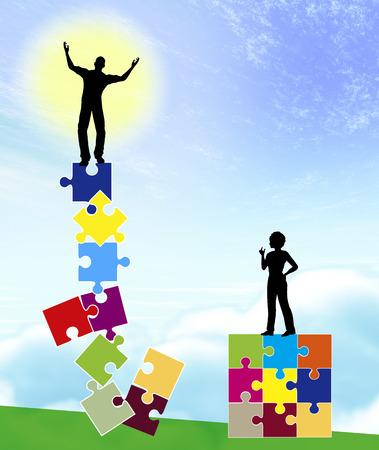 wahrnehmung: Unterschiedlichen Realit�ten Mann und Frau mit verschiedenen Selbstwahrnehmung und Selbstprojektion als Konzept Zeichen