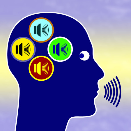 voices: Paranoia Concept signo para la esquizofrenia paranoide con la persona que comunica con diferentes voces en su cabeza Foto de archivo