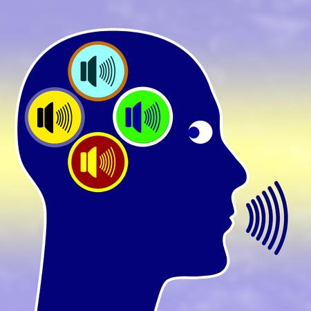 paranoia: Paranoia Concetto segno per schizofrenia paranoide con persona di comunicare con diverse voci nella sua testa