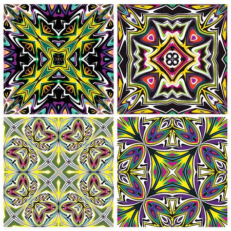 Keramische tegels mediterrane stijl patroon, trendsettend in schitterende en levendige kleuren, naadloos in vector kunst voor interieur