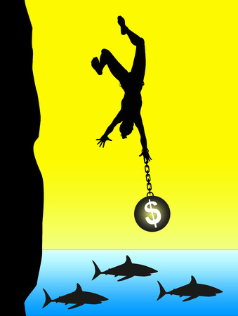 creditors: Loan Shark  Concept of insolvency and financial crash haunted by creditors