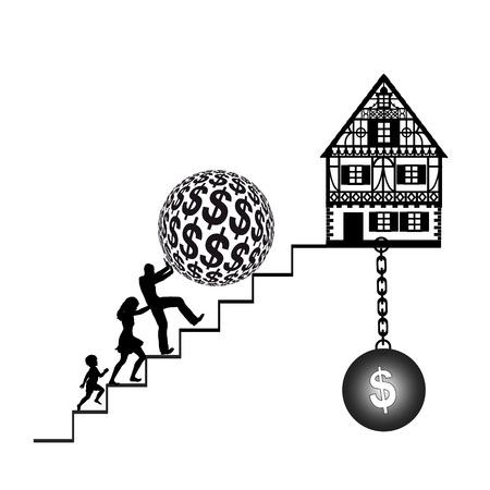 ontbering: Woningkrediet De ontberingen van het kopen van een huis met hypotheek en financiële lasten Stockfoto