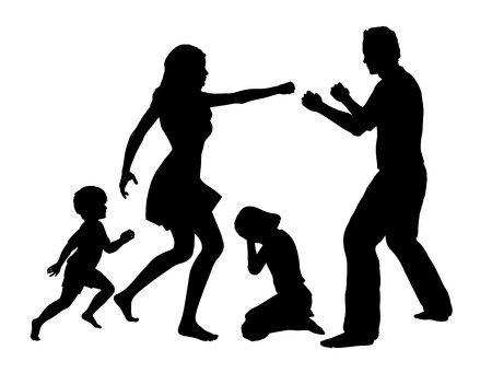 family fight: Family Drama  Concept sign for domestic violence with children as main victims
