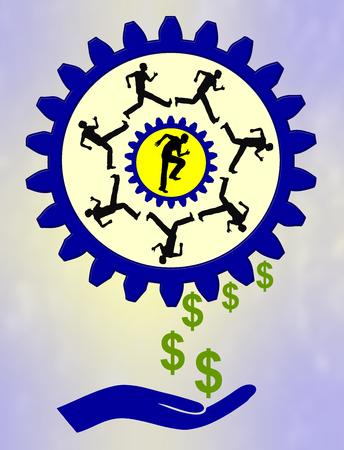 capitalismo: Ganar dinero asunto y concepto de capitalismo, produciendo buenos ingresos sin mucho esfuerzo