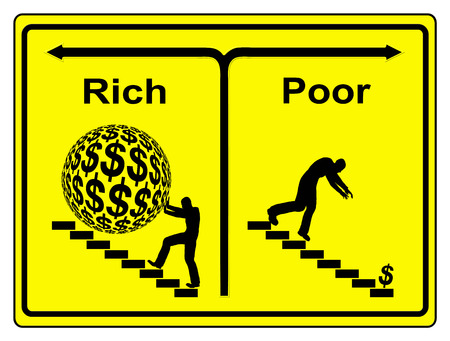 destitution: Poor Rich Concept  Rise and fall, person on his way up, person on his way down