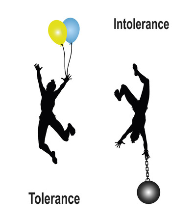 intolerance: Tolerance Intolerance  Educational concept sign to plea for tolerance and to free from burdensome prejudices