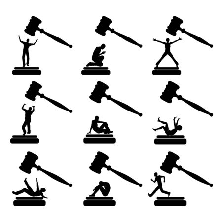 delinquent: People in Court.   Set of humorous vector cartoons of culprits behaving in many different ways