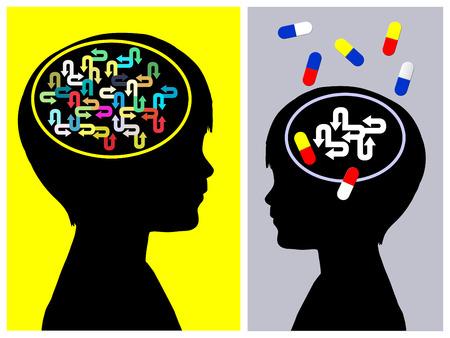Concept de traitement du TDAH. Le médicament de trouble déficitaire de l'attention avec hyperactivité a des effets secondaires sur la personne Banque d'images - 30393331