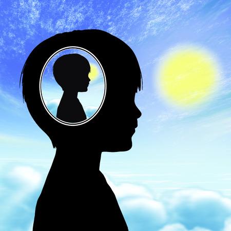psicologia infantil: Concepto autismo. Niño que tiene problemas con la comunicación y la interacción social, que viven en su propio mundo, está aislado de los demás Foto de archivo