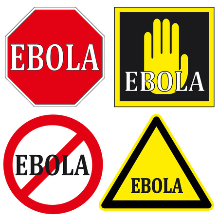 be aware: Stop Ebola signs Illustration
