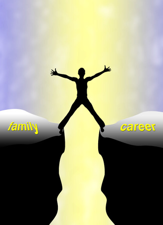 family problems: Family Career Concept  Double burden and challenge for woman finding the balance between family and work Stock Photo