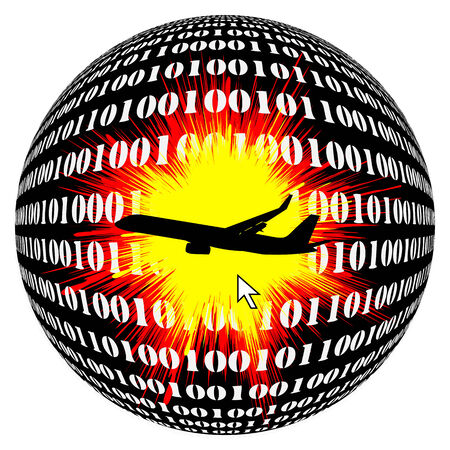 hijack: Air Crash by Hacker.  Aviation at risk through terrorists hacking airborne computer Stock Photo