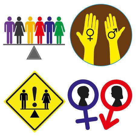 equidad: La igualdad de derechos Concept indicaciones a la demanda de la igualdad de género para todo el mundo, conjunto de vectores