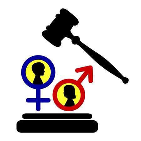 equidad: Igualdad de derechos para señal de niñas y niños Concepto que todos los niños tienen derecho a ser tratados por igual, en todo el mundo Foto de archivo
