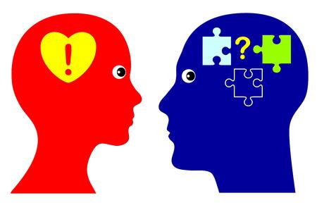 Met Hart en de Geest Concept van emotionele en rationele intelligentie als succesvolle strategie in het persoonlijke leven en in het bedrijfsleven Stockfoto