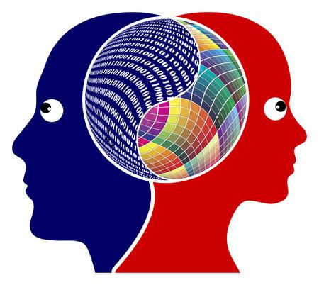 합리성이나 창의력 오른쪽 뇌와 왼쪽 뇌는 하나의 논리적 또는 창의적 사고 다른 기능을 가지고 스톡 콘텐츠 - 30819433
