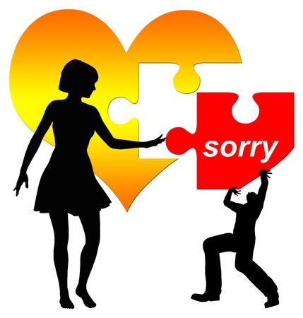 hesitating: El hombre se disculpa, mujer dudando en aceptarlo ilustraci�n