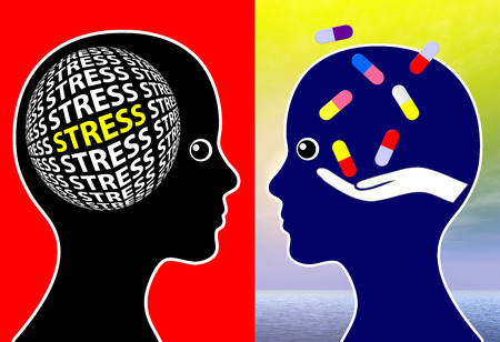 psychotropic medication: Stress Management and Tablets, Woman taking pills to overcome stressful situations