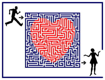 matchmaking: Love Labyrinth. Concept for the difficult search for the right partner