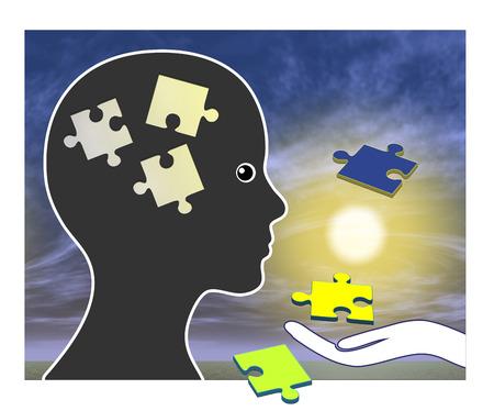 brain damage: Memory Training after Amnesia. Recovering memories after brain damage or injury through rehabilitation Stock Photo