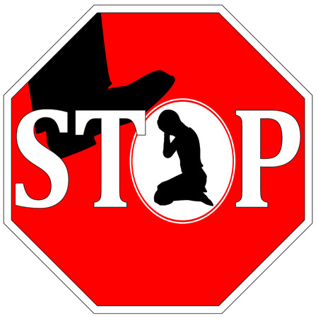 violencia intrafamiliar: No m�s violencia contra las mujeres signo Concept
