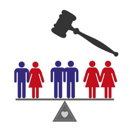 平等の権利。すべてのカップルのための結婚の平等の概念記号