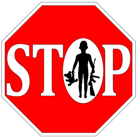 Stop Kids with Firearms. Concept sign for gun free kids or no guns allowed photo