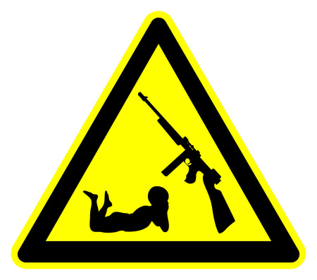 securing: Keep Guns away from Kids. Concept and warning sign of securing firearms from little hands Stock Photo