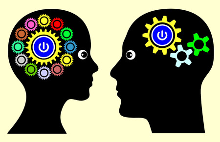 tasking: Different Mindset. Man and woman with different thinking patterns, multitasking or single tasking when making decision or solving problems